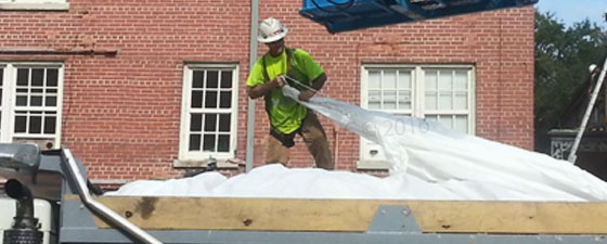 Easy closure of drawstring liners form EnviroZone at demolition site in the USA