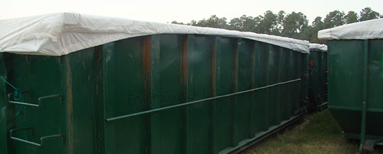 Raincap covers for containers onsite from EnviroZone in the USA