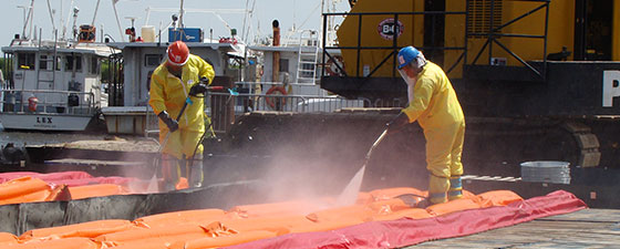 Click to learn more about how spill berms from EnviroZone are used emergency response