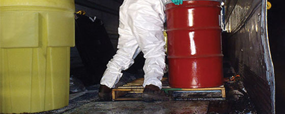 Spill pans from EnviroZone help prevent unforseen spills during load and transport in containers and vans